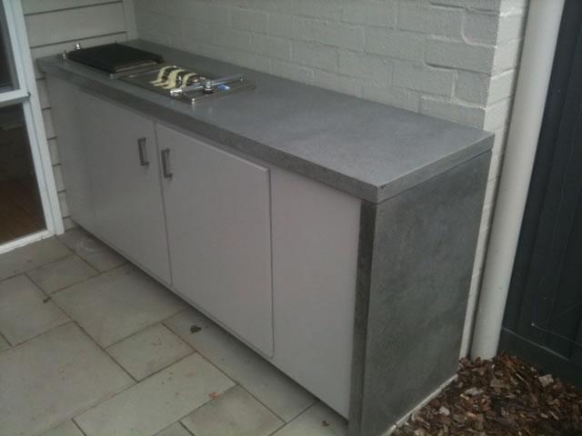 Concrete furniture concrete tables concrete table tops concrete benchtops melbourne - Kitchen cabinet concrete table top ...