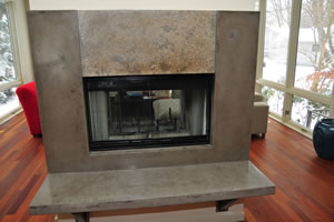 Concrete fireplace surrounds